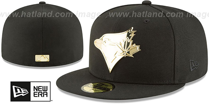 online store 6a02e 48dce Blue Jays 'GOLDEN-BADGE' Black Fitted Hat by New Era