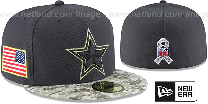 promo code 64901 d9c28 Cowboys '2016 KIDS SALUTE-TO-SERVICE' Grey-Desert Fitted Hat by New Era