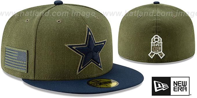 check out f7a1b 36590 Cowboys '2018 SALUTE-TO-SERVICE' Olive-Navy Fitted Hat by New Era