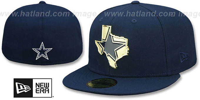 GOLD STATED METAL-BADGE Navy Fitted Hat