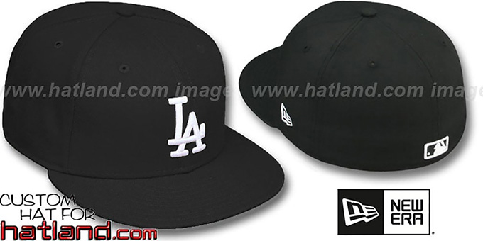 New Era MLB Los Angeles Dodgers Black with White 59FIFTY Fitted Cap