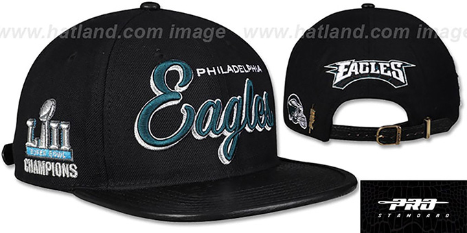 low priced 29f0e 46f7e Eagles 'SCRIPT SUPER BOWL LII CHAMPS STRAPBACK' Black Hat by Pro Standard