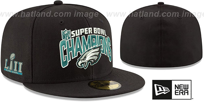 sale retailer c08a5 18a3b Eagles 'SUPER BOWL LII CHAMPS' Black Fitted Hat by New Era