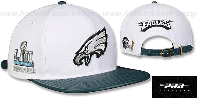 reputable site e98c6 f61bd Eagles 'TEAM LOGO SUPER BOWL LII CHAMPS STRAPBACK' White-Green Hat by Pro  Standard