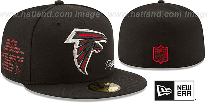 best service 3516a 74e18 Falcons 'THROWBACK SANDERS STATS' Black Fitted Hat by New Era