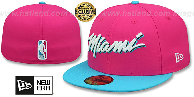 official photos a51fd eb4b0 Heat 'MIAMI VICE' Beetroot-Blue Fitted Hat by New Era
