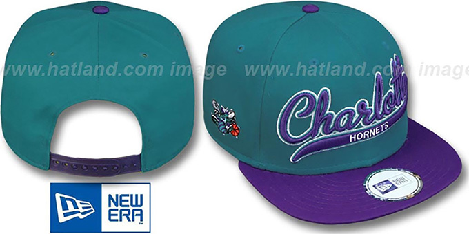 new authentic exclusive range size 40 Charlotte Hornets HW 2T SCRIPTER SNAPBACK Teal-Purple Hat