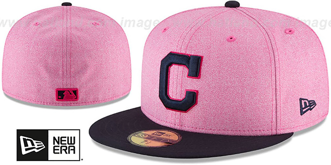the best attitude 184eb d5486 Indians '2018 MOTHERS DAY' Pink-Navy Fitted Hat by New Era