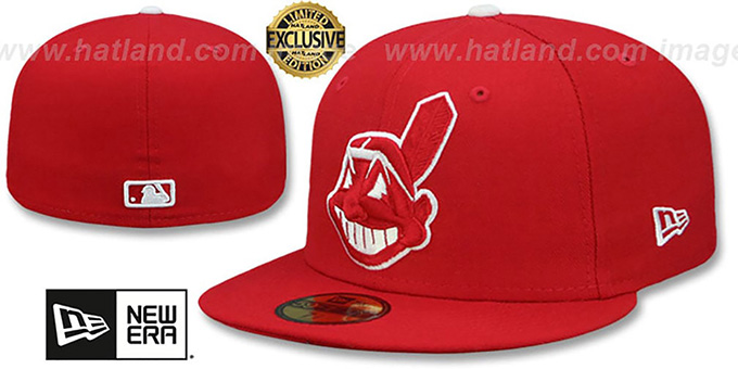 Indians 'CHIEF-WAHOO' Red-White Fitted Hat by New Era