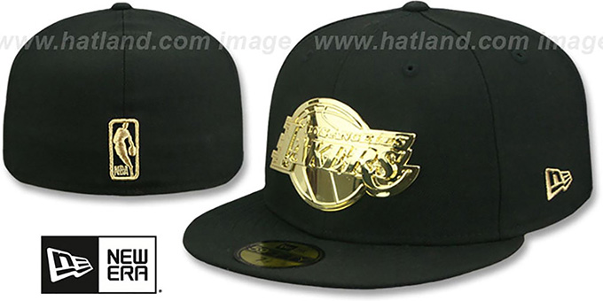 Los Angeles Lakers Gold Metal Badge Black Fitted Hat
