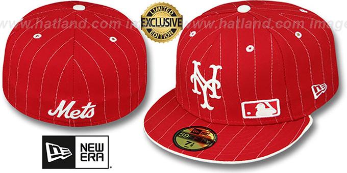 New Era New York Mets Snapback Hat Cap All Red//White