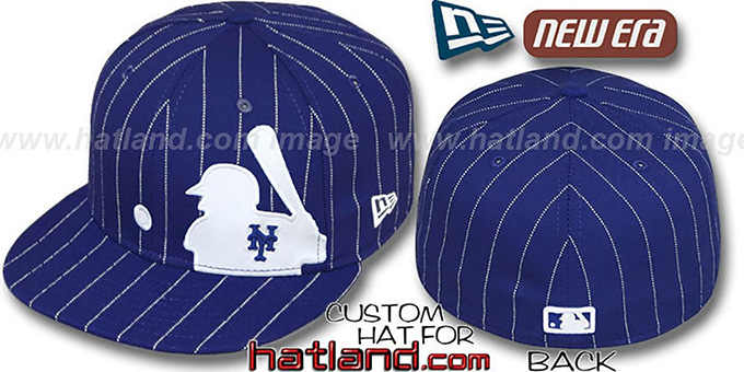 cost charm popular brand half price New York Mets MLB SILHOUETTE PINSTRIPE Royal-White Fitted Hat