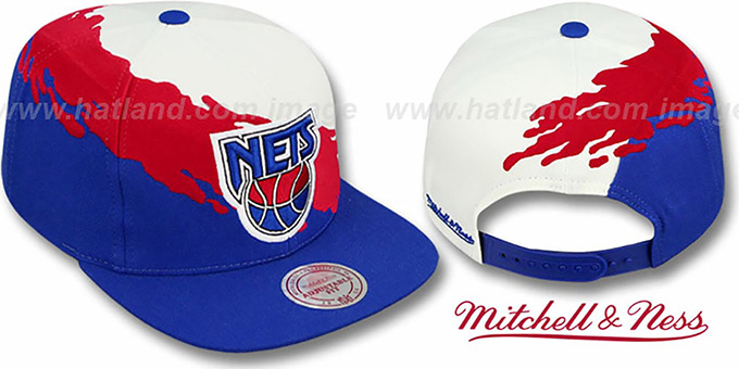 super popular 6079a 69d29 Nets 'PAINTBRUSH SNAPBACK' White-Red-Royal Hat by Mitchell & Ness