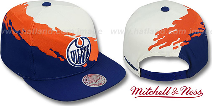 reputable site 3a624 b3143 Oilers 'PAINTBRUSH SNAPBACK' White-Orange-Navy Hat by Mitchell & Ness