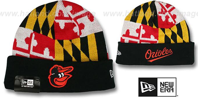 Maryland Flag Name Pom Beanie Hat NEW