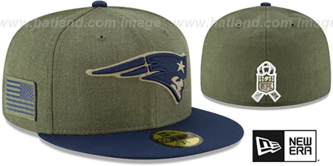 reputable site 929f1 48f78 Patriots '2018 SALUTE-TO-SERVICE' Olive-Navy Fitted Hat by New Era