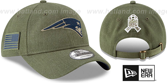 reputable site 6c2cf 059b5 Patriots '2018 SALUTE-TO-SERVICE STRAPBACK' Olive Hat by New Era