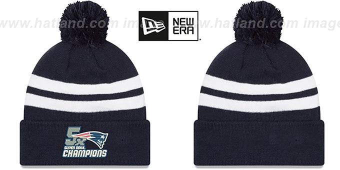 factory price f8553 65b93 Patriots 'NFL 5X SUPER BOWL CHAMPIONS ' Navy-White Knit Beanie Hat by New  Era