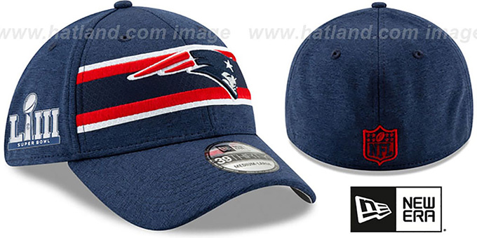 100% high quality store new high New England Patriots NFL SUPER BOWL LIII ONFIELD FLEX Navy Hat
