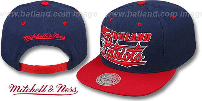 hot sale online 5d59a 2a643 Patriots 'TAILSWEEP SNAPBACK' Navy-Red Hat by Mitchell and Ness