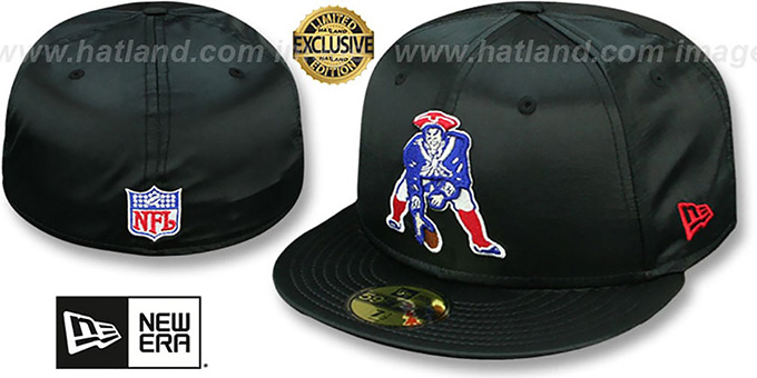 New England Patriots Throwback Satin Basic Black Fitted Hat