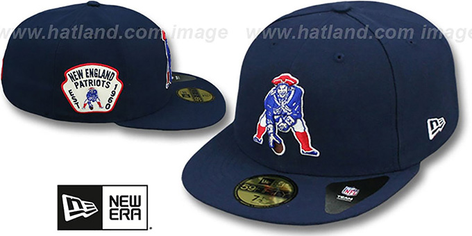 New England Patriots Throwback Side Team Patch Navy Fitted Hat