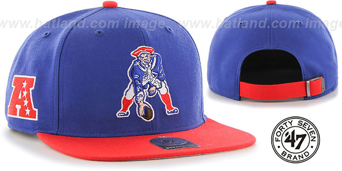 New England Patriots Throwback Super Shot Strapback Royal Red Hat