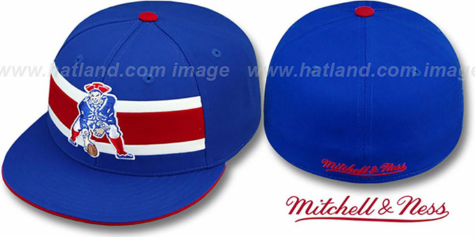 New England Patriots Throwback Timeout Royal Fitted Hat By Mitche