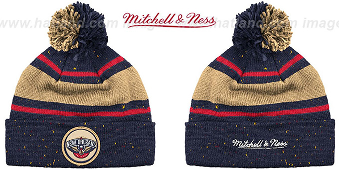 Pelicans Speckled Navy Gold Knit Beanie By Mitchell And Ness