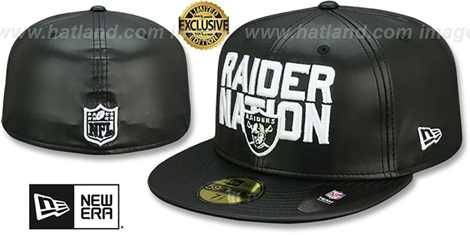 Raiders 'RAIDER-NATION LEATHER' Black Fitted Hat by New Era