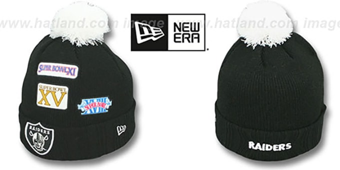Oakland Raiders Super Bowl Patches Black Knit Beanie Hat