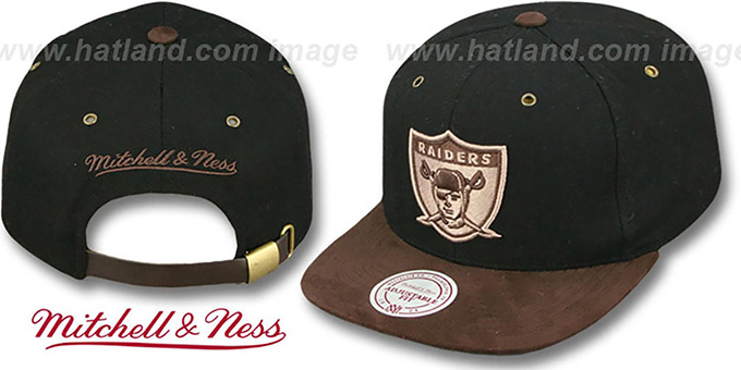 low priced ce90b 41a17 Raiders 'TC-BROWN SUEDE STRAPBACK' Hat Mitchell and Ness