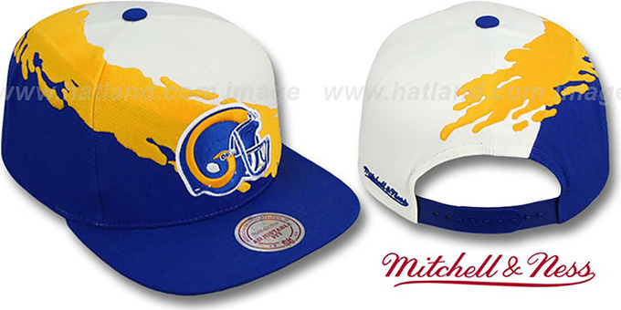 promo code 366f8 b6c91 Rams 'PAINTBRUSH SNAPBACK' White-Gold-Royal Hat by Mitchell and Ness