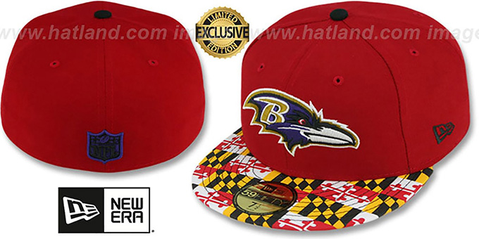 MARYLAND-FLAG Red Fitted Hat by New Era