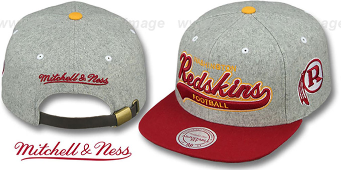 reputable site 99307 ff200 Redskins '2T TAILSWEEPER STRAPBACK' Grey-Burgundy Hat by Mitchell and Ness