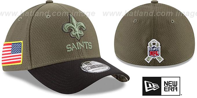 size 40 08851 a50c7 Saints '2017 SALUTE-TO-SERVICE FLEX' Green-Black Hat by New Era