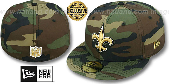 best service 8a66a f1f40 Saints 'NFL TEAM-BASIC' Army Camo Fitted Hat by New Era