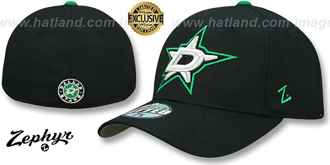 dallas stars shootout black fitted hat by zephyr hatland