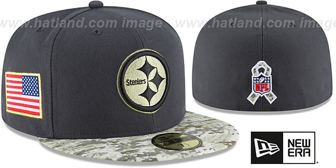 outlet store 83306 d5f98 Steelers '2016 SALUTE-TO-SERVICE' Grey-Desert Fitted Hat by New Era