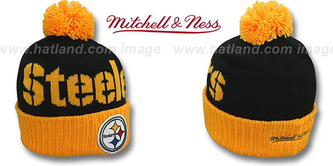 Steelers Cuff Beanie 2 Black Gold Knit Hat By Mitchell And Ness
