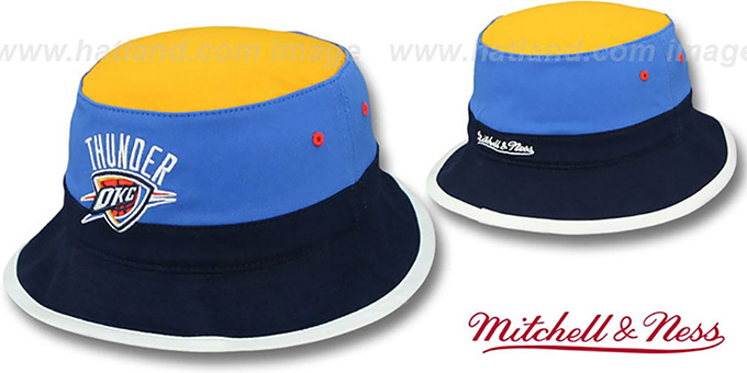 low priced 5d22c c1362 Thunder 'COLOR-BLOCK BUCKET' Gold-Blue-Navy Hat by Mitchell and Ness
