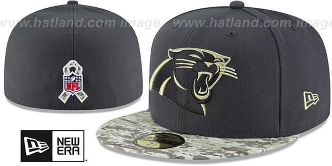 separation shoes 5924c 98c00 Panthers '2016 SALUTE-TO-SERVICE' Grey-Desert Fitted Hat by New Era