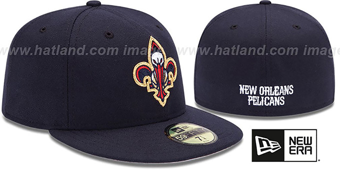 Pelicans Inaugural Fleur De Lis Navy Fitted Hat By New Era